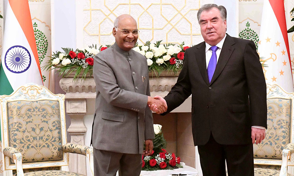 The President, Ram Nath Kovind meeting the President of Tajikistan, Emomali Rahmon, at Palace of Nation, in Dushanbe, Tajikistan on.