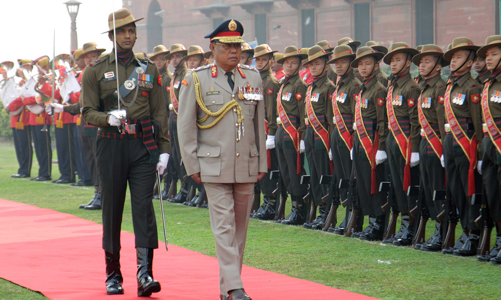 The Chief Operations Officer, Royal Bhutan Army, Lt. Gen. Batoo Tshering inspecting the Guard of Honour, in New Delhi