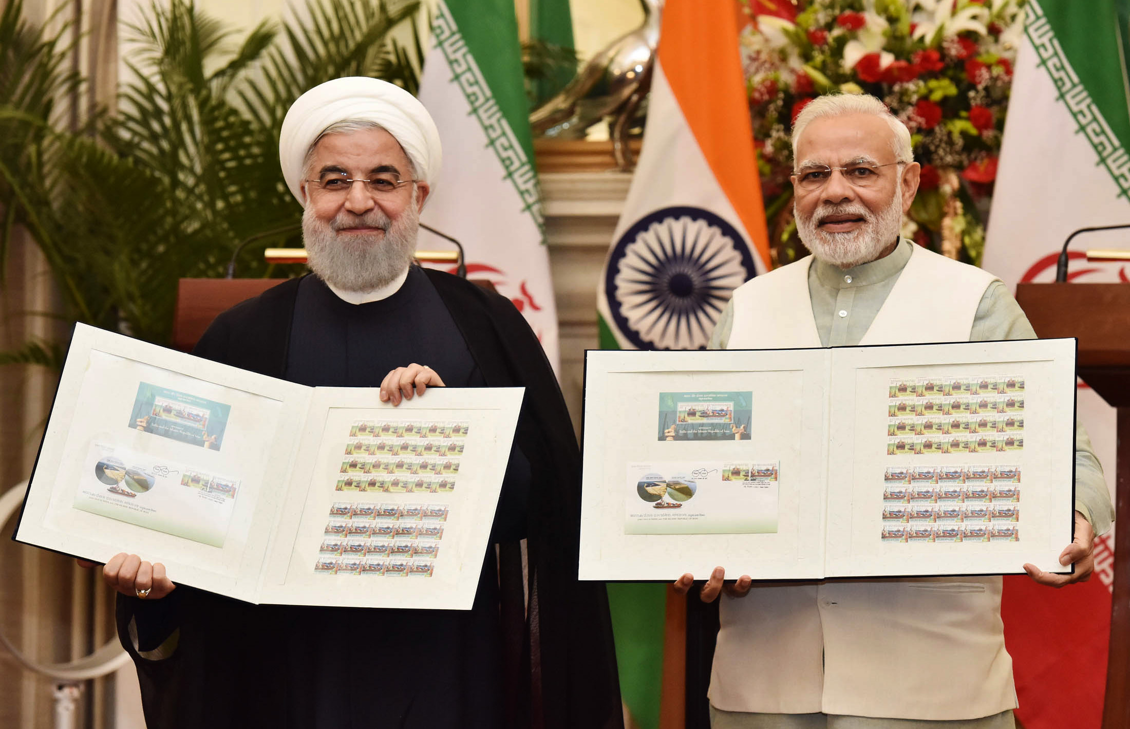 PM Narendra Modi and the President of the Islamic Republic of Iran, Dr. Hassan Rouhani releasing the commemorative stamp celebrating India-Iran relations.