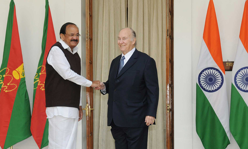 Vice President  M. Venkaiah Naidu receiving the Prince Shah Karim Al Hussaini, Aga Khan IV, at Hyderabad House in New Delhi