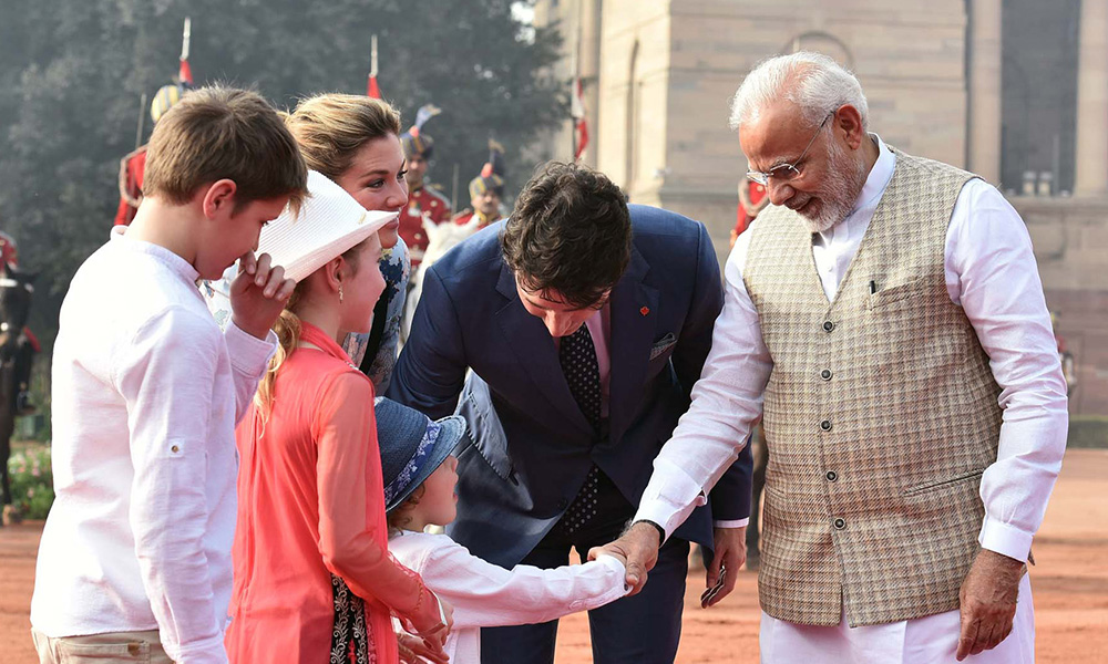 PM Narendra Modi welcomes the Prime Minister of Canada, Mr. Justin Trudeau and his Family, at the Ceremonial Reception, at Rashtrapati Bhavan.