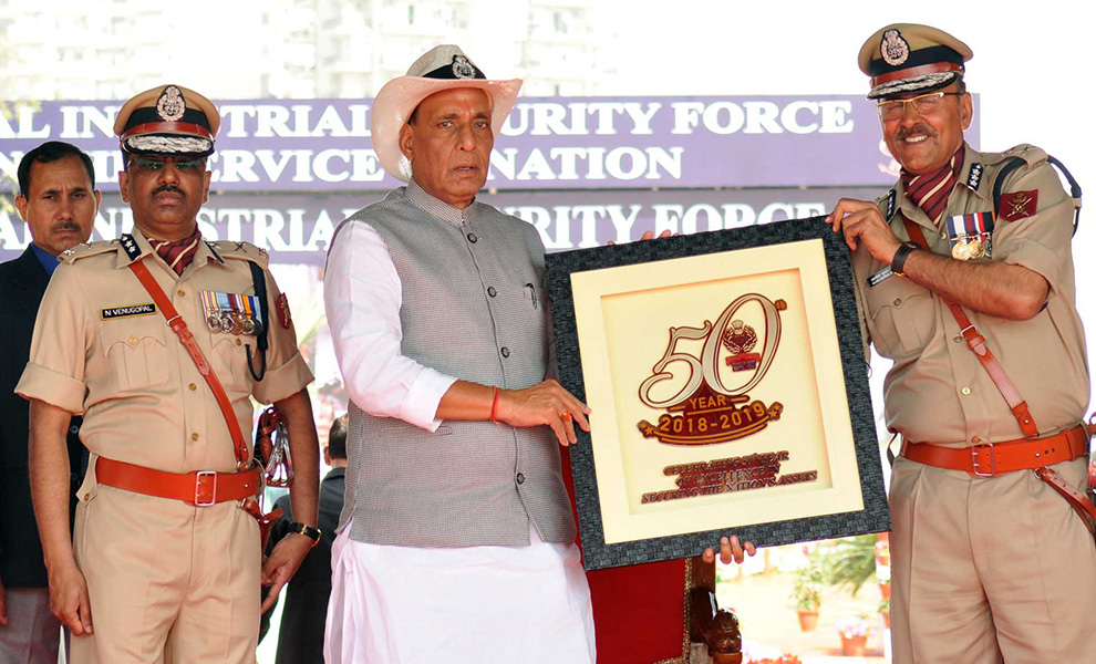 Union Home Minister, Rajnath Singh releasing the Coffee Table Book, during the 49th Raising Day Parade of the Central Industrial Security Force (CISF).