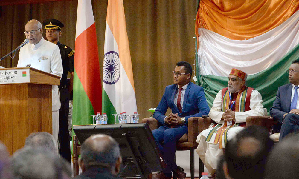 President Ram Nath Kovind addressing at the India-Madagascar Business Forum at Antananarivo, in Madagascar