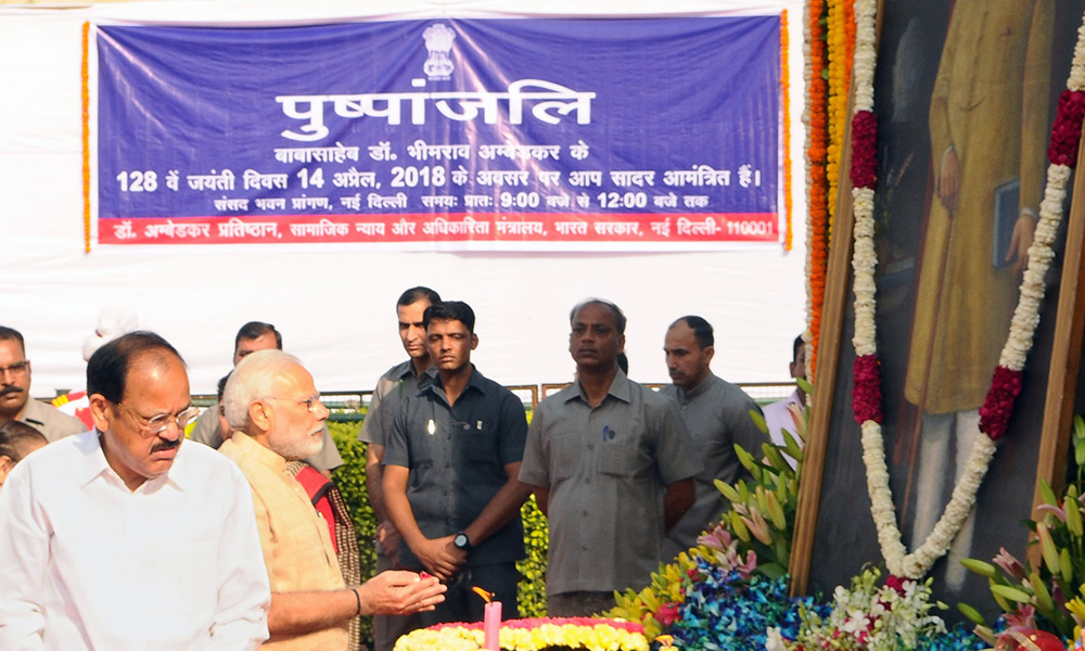 PM  Narendra Modi paying floral tributes to Babasaheb Dr. B.R. Ambedkar, on the occasion of his birth anniversary.