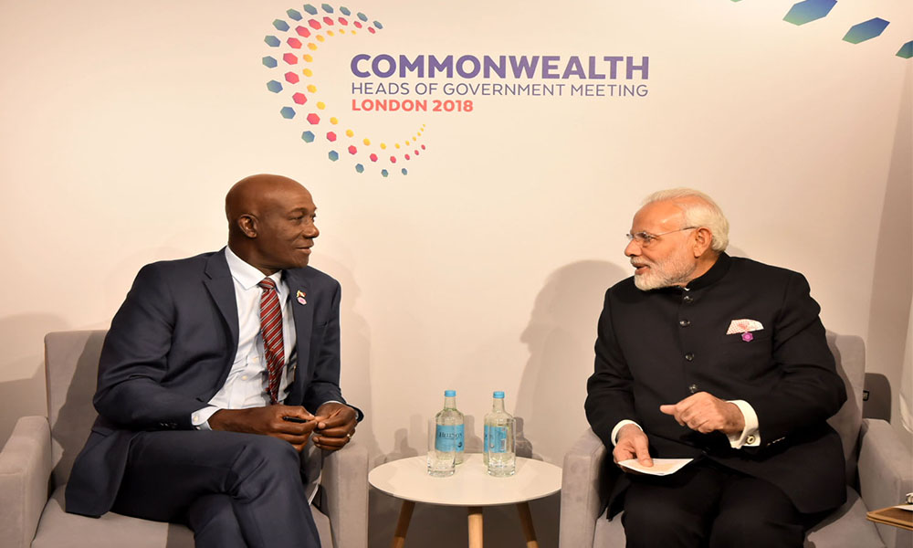 The Prime Minister, Narendra Modi meeting the Prime Minister of Trinidad and Tobago, Dr. Keith C. Rowley, on the sidelines of CHOGM 2018, in London.