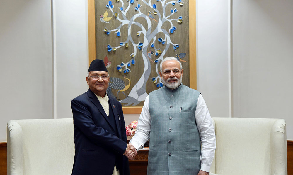 The Prime Minister of Nepal, K.P. Sharma Oli calls on the Prime Minister, Narendra Modi, in New Delhi.