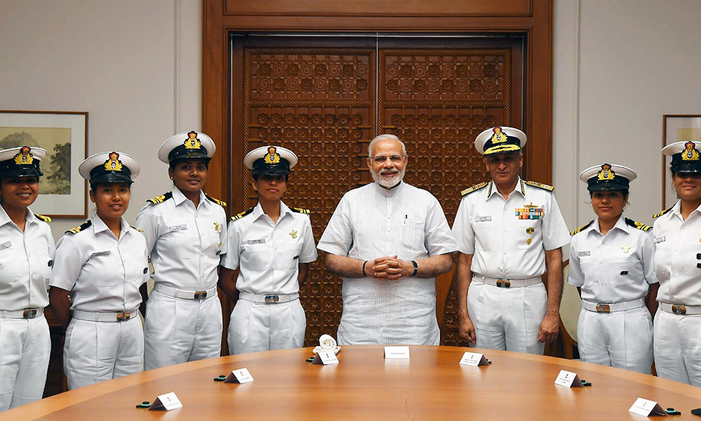 PM Narendra Modi meeting the crew of INSV Tarini which successfully circumnavigated the globe, in New Delhi. The Chief of Naval Staff, Admiral Sunil Lanba is also seen.