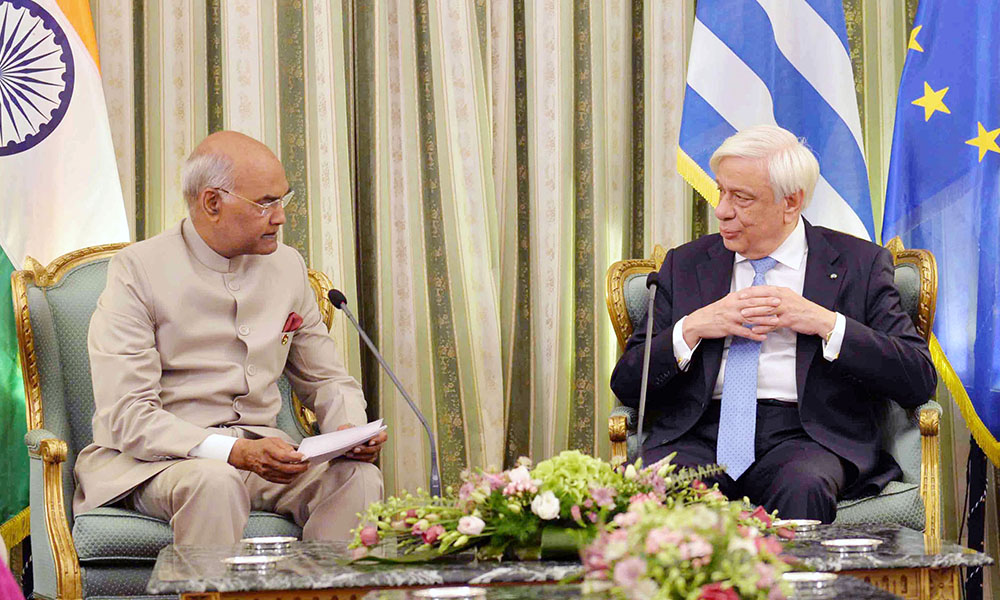 President Ram Nath Kovind meeting the President of Hellenic Republic, Mr. Prokopis Pavlopoulos, at Presidential Mansion, in Athens, Greece.