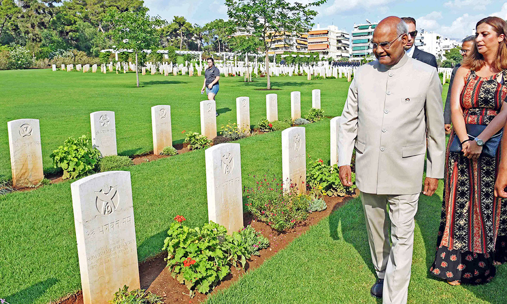 The President, Ram Nath Kovind visiting the Phaleron Commonwealth War Cemetery, at the Phaleron Indian Cremation Memorial, at Athens, in Greece.
