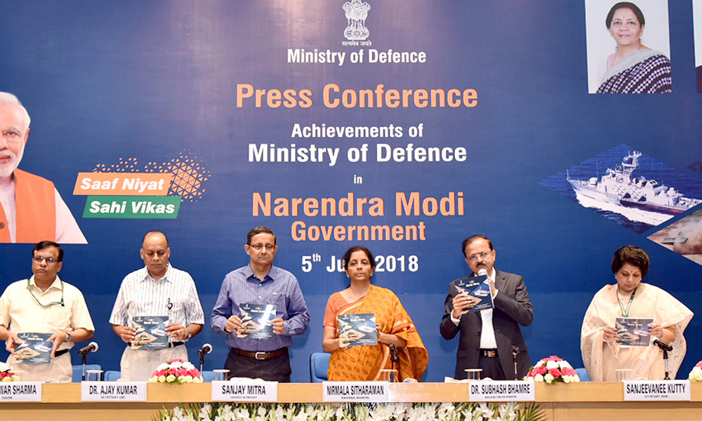 Union Minister for Defence Nirmala Sitharaman releasing the booklet, during a press conference on four years achievements of the Ministry of Defence.