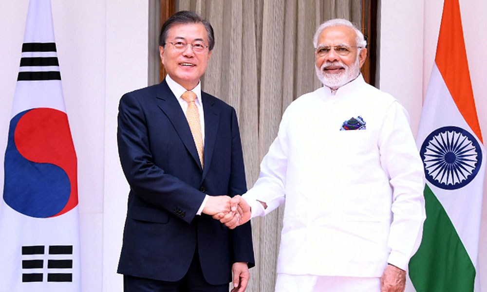 The Prime Minister, Narendra Modi meeting the President of the Republic of Korea, Mr. Moon Jae-in, at Hyderabad House, in New Delhi.