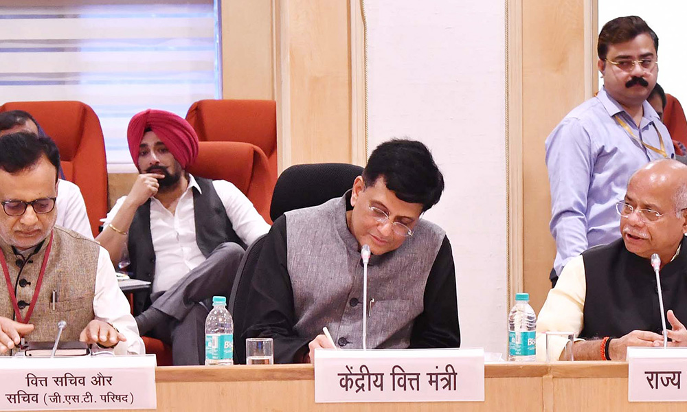The Union Minister for Railways, Coal, Finance and Corporate Affairs, Piyush Goyal chairing the 28th GST Council meeting, in New Delhi on July. The Minister of State for Finance, Shiv Pratap Shukla and the Finance Secretary, Dr. Hasmukh Adhia are also seen.