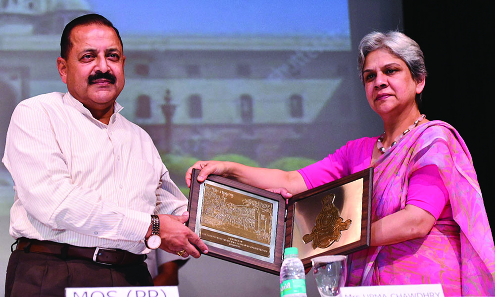 The Minister of State for Development of North Eastern Region (I/C), Prime Minister's Office, Personnel, Public Grievances & Pensions, Atomic Energy and Space, Dr. Jitendra Singh at the interactive programme of the State Civil Service Officers promoted to the IAS and attending the 120th Induction Training Programme at the Lal Bahadur Shastri National Academy of Administration, Mussoorie, in New De