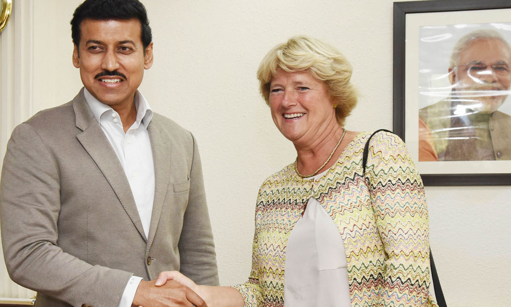 The Minister of State to the Federal Chancellor and Federal Government Commissioner for Culture and the Media, Federal Republic of Germany, Prof. (Ms.) Monika Grutters calling on the Information & Broadcasting (I/C), Col. Rajyavardhan Singh Rathore, in New Delhi.