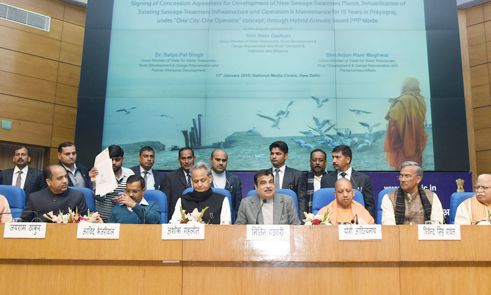 Union Minister for Road Transport & Highways, Shipping and Water Resources, River Development & Ganga Rejuvenation, Nitin Gadkari interacting with the media after signing an MoU on Renukaji Dam project.