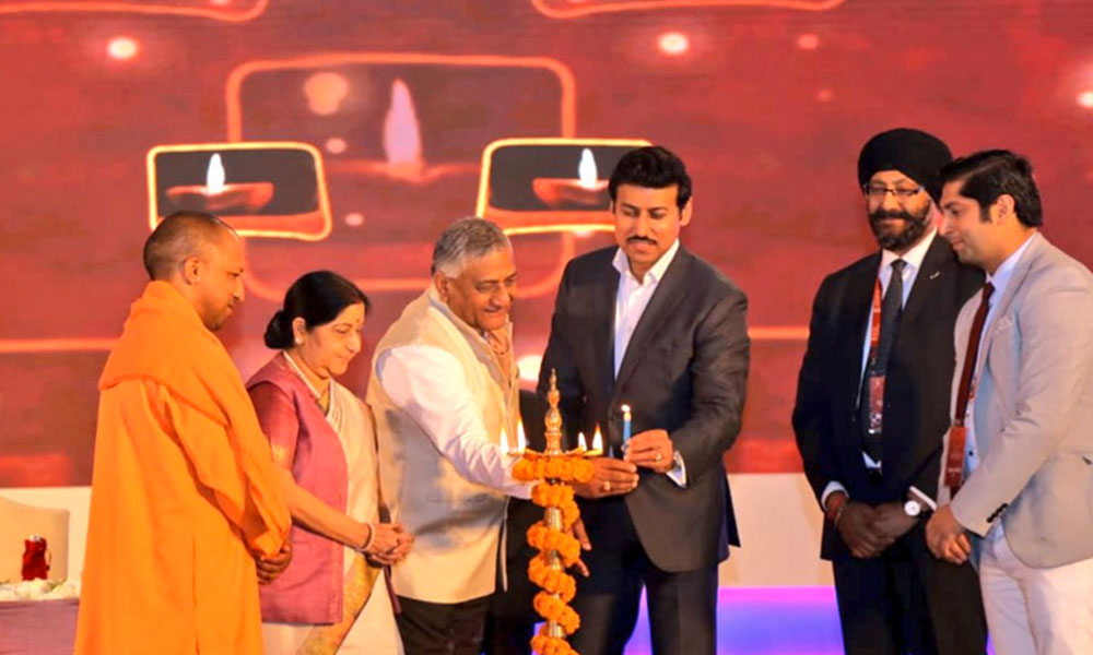 EAM SushmaSwaraj,MoS General V K Singh ,MoS Youth Affairs & Sports Rajyavardhan Rathore ,UP CM Yogi Adityanath at inauguration of the Youth Pravasi Bharatiya Divas 2019 in Varanasi
