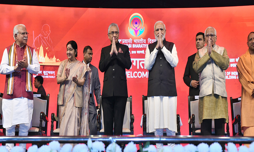 The Prime Minister, Narendra Modi and the Prime Minister of Mauritius, Pravind Jugnauth at the inauguration of the 15th Pravasi Bharatiya Divas Convention 2019, in Varanasi, Uttar Pradesh.