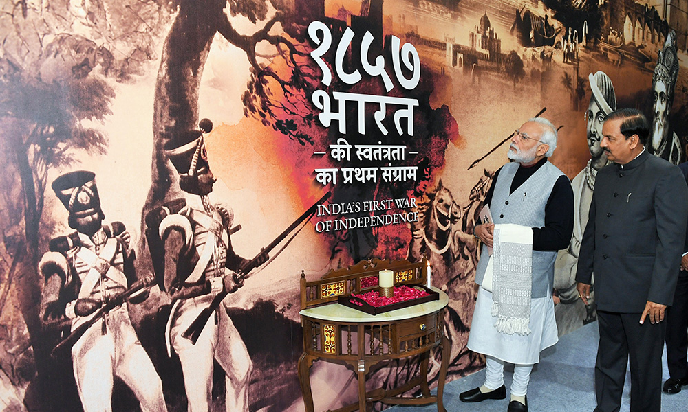The Prime Minister, Narendra Modi visiting the Museum on 1857- India's first war of Independence, at Red Fort, Delhi.