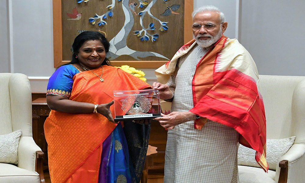 The Governor of Telangana, Dr. Tamilisai Soundararajan calling on the Prime Minister, Narendra Modi, in New Delhi.