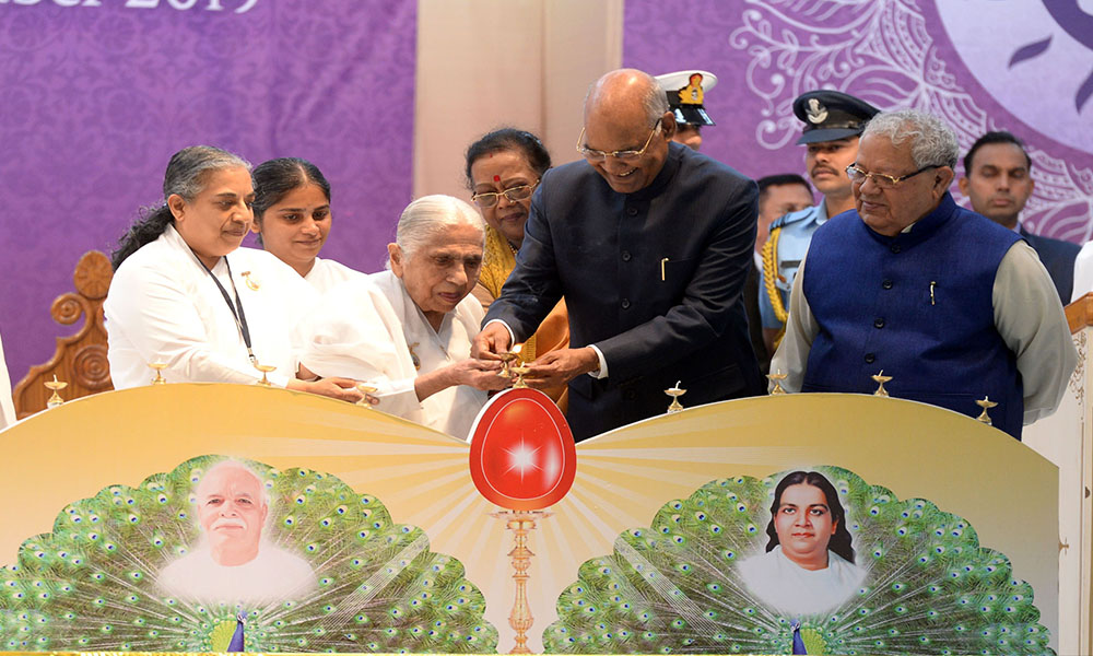 The President, Ram Nath Kovind lighting the lamp at the National Convention on 'Empowerment of Women for Social Transformation', at the headquarters of Brahma Kumaris, in Mount Abu, Rajasthan.