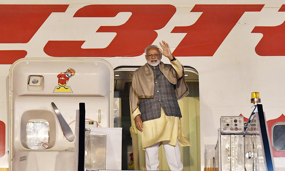 The Prime Minister, Narendra Modi emplanes for Seoul on a 2-day State Visit to the Republic of Kore, in New Delhi.