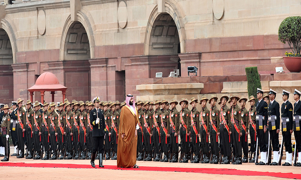 The Crown Prince, Vice President of the Council of Ministers of Defence of the Kingdom of Saudi Arabia, Prince Mohammed Bin Salman Bin Abdulaziz Al-Saud inspecting the Guard of Honour, at the Ceremonial Reception, at Rashtrapati Bhavan, in New Delhi.