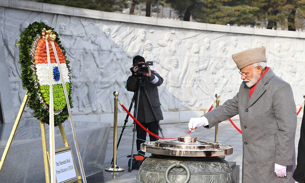 PM Narendra Modi paying homage to the fallen soldiers at the National Cemetery of Republic of Korea, in Seoul, South Korea.