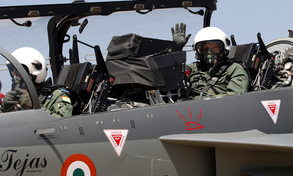 The Chief of Army Staff, General Bipin Rawat in the cockpit of two-seater LCA-Tejas, during his sortie at the Aero India- 2019, at Air Force Station Yelahanka, Bengaluru.
