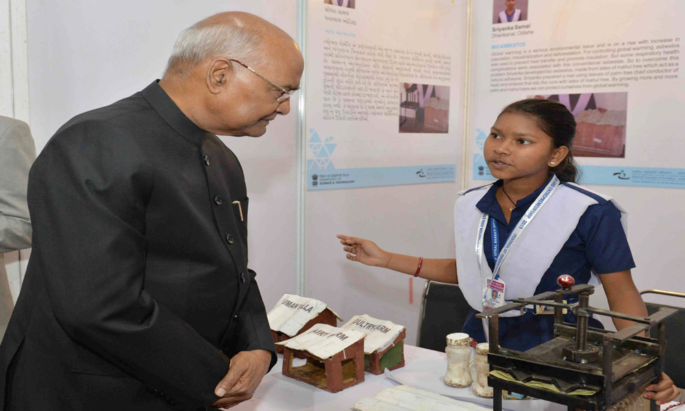 The President, Ram Nath Kovind visiting the Innovation Exhibition, at the National Innovation Foundation-India, Amrapur, Gandhinagar, in Gujarat.