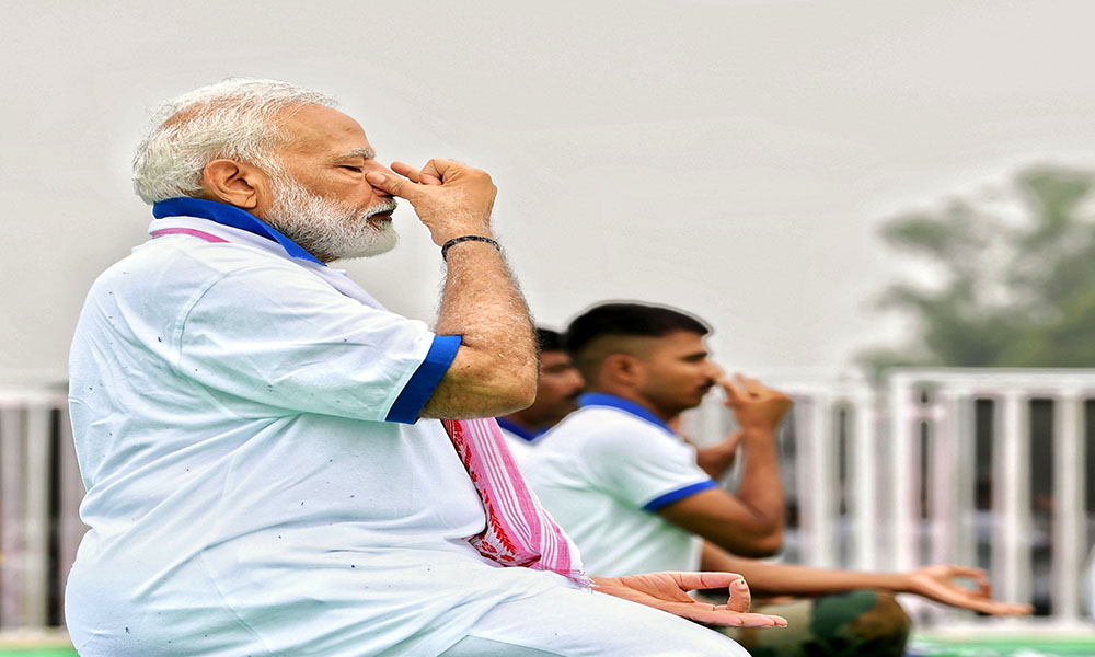 The Prime Minister, Narendra Modi practising Yoga in a Mass Yoga Demonstration, on the occasion of the 5th International Day of Yoga 2019, at Ranchi, Jharkhand.