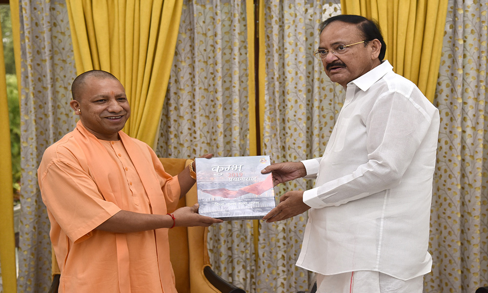 The Chief Minister of Uttar Pradesh, Yogi Adityanath calling on the Vice President, M. Venkaiah Naidu, in New Delhi.