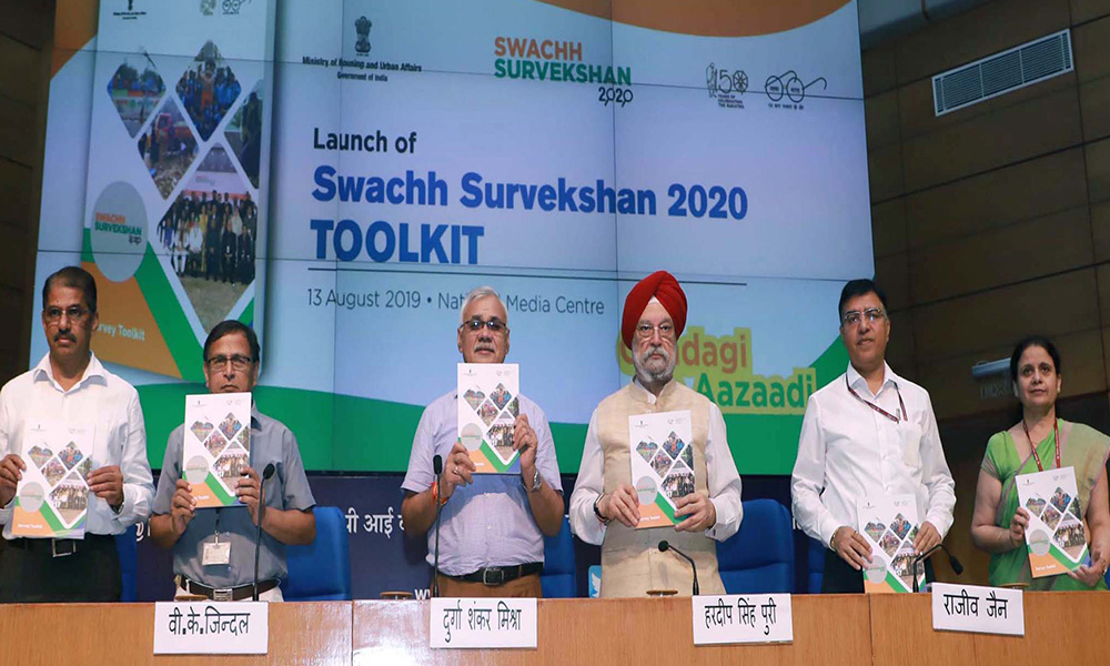 The Minister of State for Housing & Urban Affairs, , Hardeep Singh Puri launching the Swachh Survekshan 2020 toolkit, at a press conference, in New Delhi.