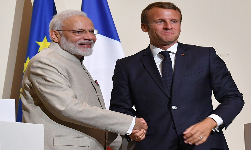 The Prime Minister, Narendra Modi and the President of France, Mr. Emmanuel Macron at the Joint Press Statement, at Chateau de Chantilly, in France.