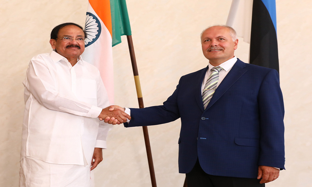 The Vice President, M. Venkaiah Naidu at a meeting with the President of the Riigikogu, Mr. Henn Polluaas, in Tallinn, Estonia.