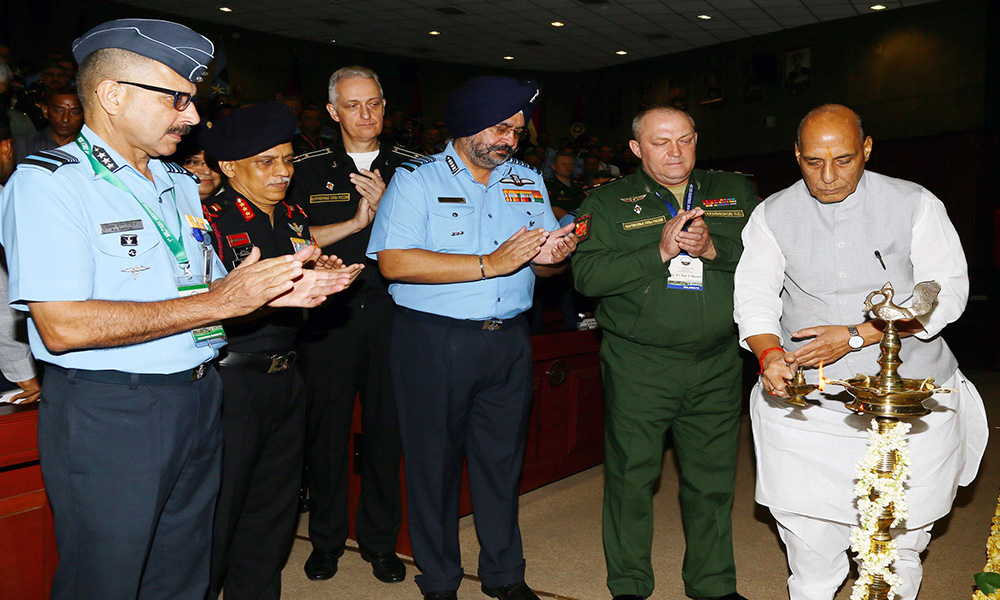 The Union Minister for Defence, Rajnath Singh lighting the lamp to inaugurate the 1st Military Medicine Conference of Shanghai Co-operation Organisation (SCO) countries, in New Delhi.
