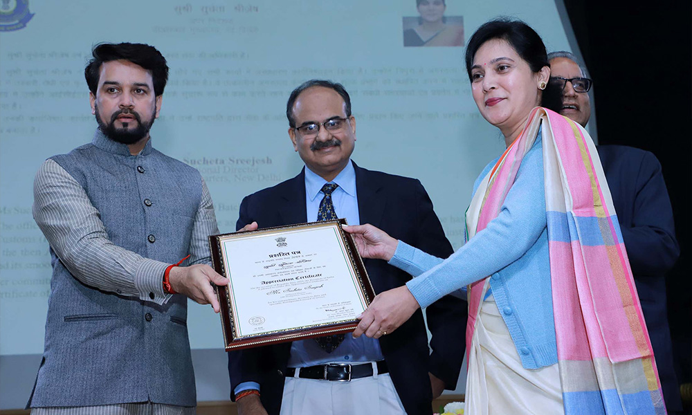 The Minister of State for Finance and Corporate Affairs, Anurag Singh Thakur presenting the certificates of Appreciation to the officers of Customs, at the Investiture Ceremony and International Customs Day 2020, in New Delhi The Revenue Secretary, Dr. Ajay Bhushan Pandey is also seen.