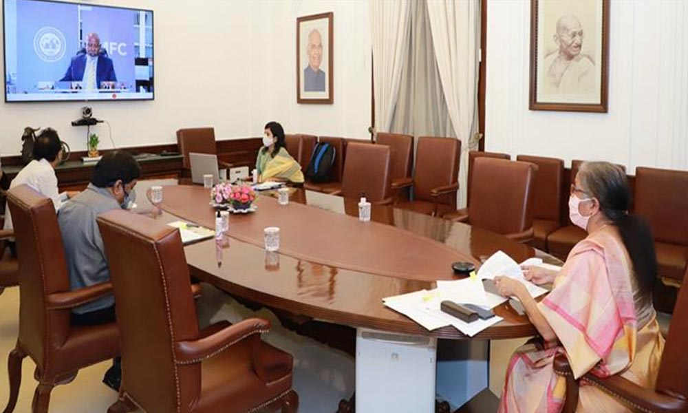 Union Minister, Nirmala Sitharaman addressing the Plenary Meeting of the International Monetary and Financial Committee, through video conferencing, in New Delhi.