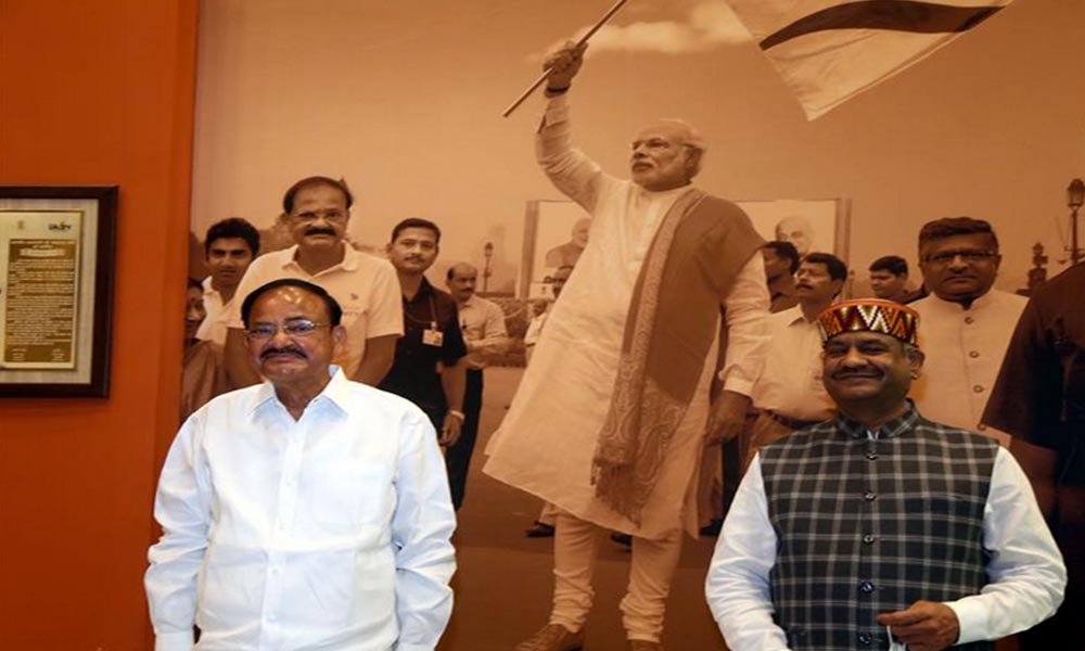 Vice President, M. Venkaiah Naidu in the museum along with the Lok Sabha Speaker, Om Birla, during his visit to the Statue of Unity, at Kevadia, Gujarat.