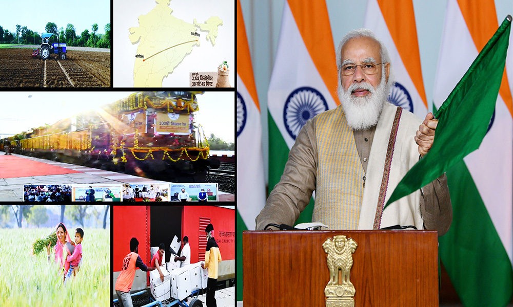 Prime Minister, Narendra Modi flags off the 100th Kisan Rail from Sangola in Maharashtra to Shalimar in West Bengal, via video conferencing, in New Delhi.