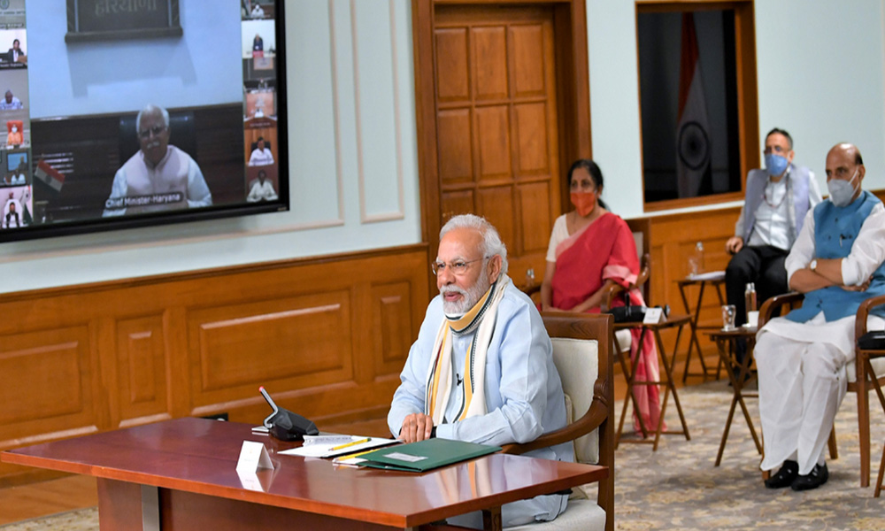 The Prime Minister, Narendra Modi holds 5th meeting with the State Chief Ministers via video conferencing on COVID-19 situation, in New Delhi.