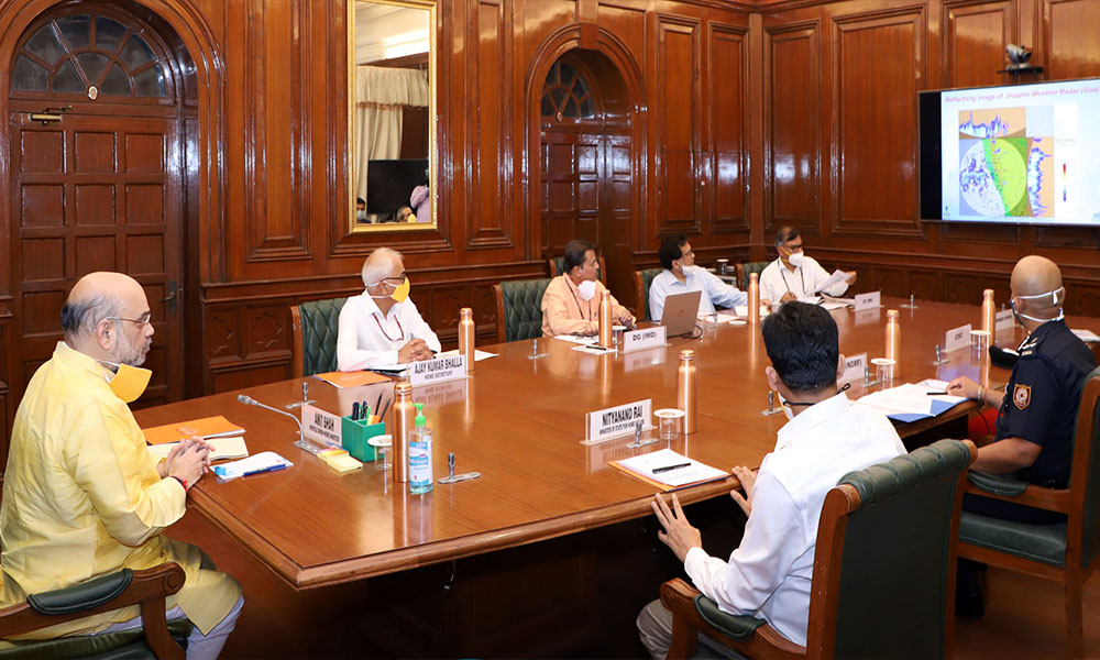 The Union Home Minister Amit Shah holding a review meeting with the senior officials of NDMA, NDRF, IMD, on preparedness for dealing with Cyclone brewing in Arabian sea, in New Delhi
