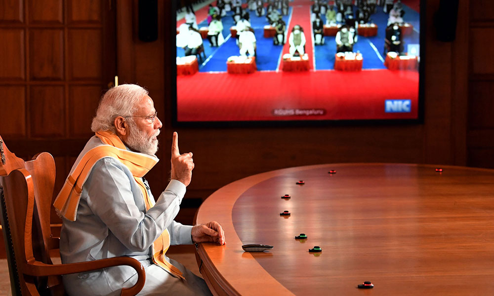 The Prime Minister, Narendra Modi addressing the 25th Foundation Day of the Rajiv Gandhi University of Health Sciences at Bengaluru via video conferencing, in New Delhi