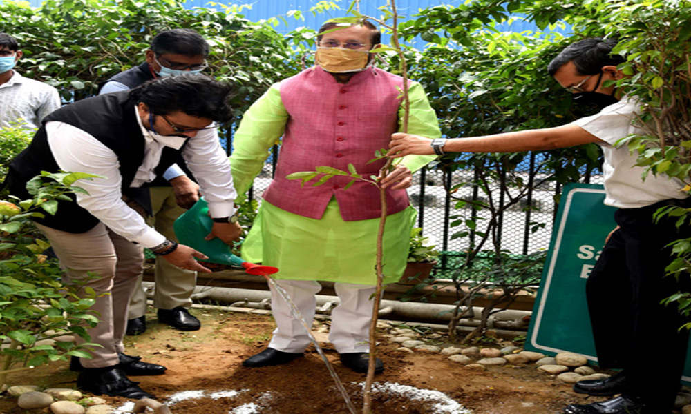 The Union Minister, Prakash Javadekar planting a sapling at the virtual celebration of the World Environment Day, 2020 with focus on Nagar Van (Urban Forest) on the theme 'Biodiversity', in New Delhi.