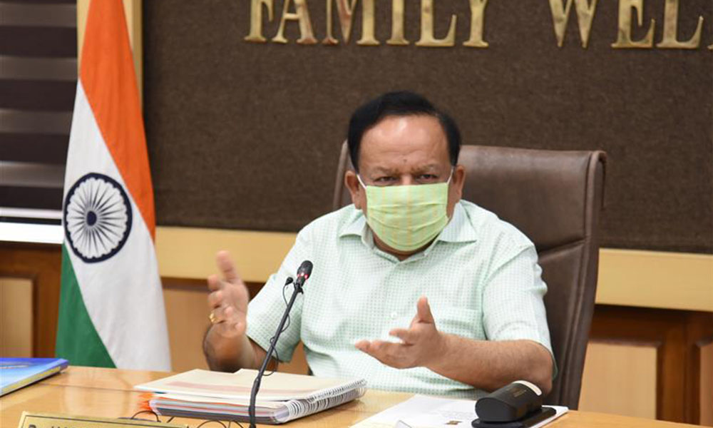 The Union Minister for Health & Family Welfare, Science & Technology and Earth Sciences, Dr. Harsh Vardhan chairing a meeting on the issue of Post Graduate Diploma in Clinical Cardiology with Secretary-General and Board of Governors, MCI and members of IACC, in New Delhi