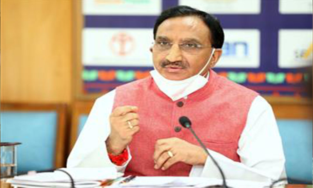 The Union Education Minister, Dr. Ramesh Pokhriyal 'Nishank' addressing at the Conclave on Transformational Reforms in Higher Education under National Education Policy-2020 through video conferencing, in New Delhi .