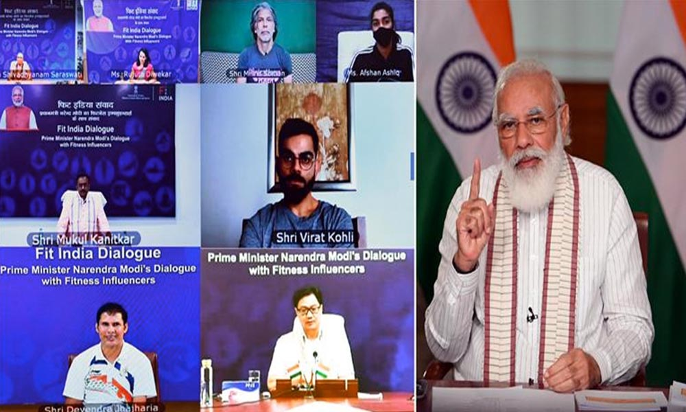 PM,Modi interacting with the various fitness enthusiasts during the Fit India Dialogue event, on the occasion of the first anniversary of the Fit India Movement, via video conferencing, in New Delhi.