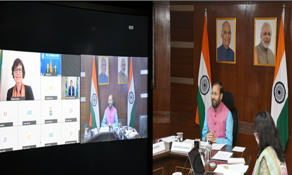 Union Minister, Prakash Javadekar virtually addressing at the 30th BASIC Ministerial Meeting on Climate Change, in New Delhi.
