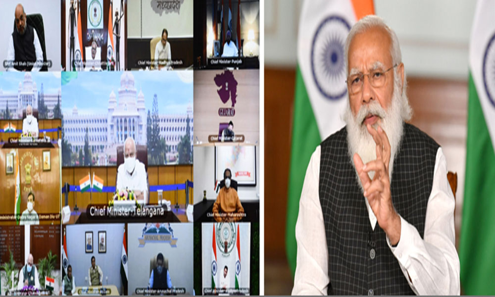 Prime Minister, Narendra Modi interacting with the Chief Ministers on COVID-19 and vaccination programme through video conferencing, in New Delhi.