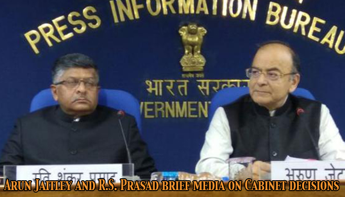 Union Minister, Arun Jaitley and Ravi Shankar Prasad brief media on Cabinet decisions