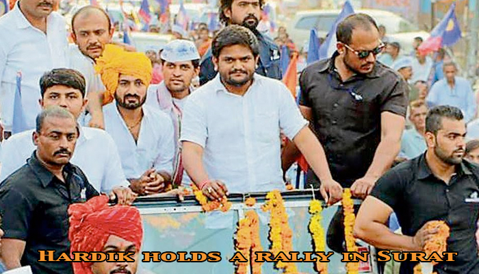 Hardik Patel holds massive road show in Surat